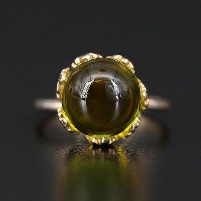 """Lalique """"Crystal Ball"""" Sterling Silver Ring"""