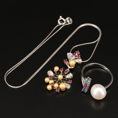 Sterling Torque Ring and Necklace with Pearl, Faux Pearl and Ruby