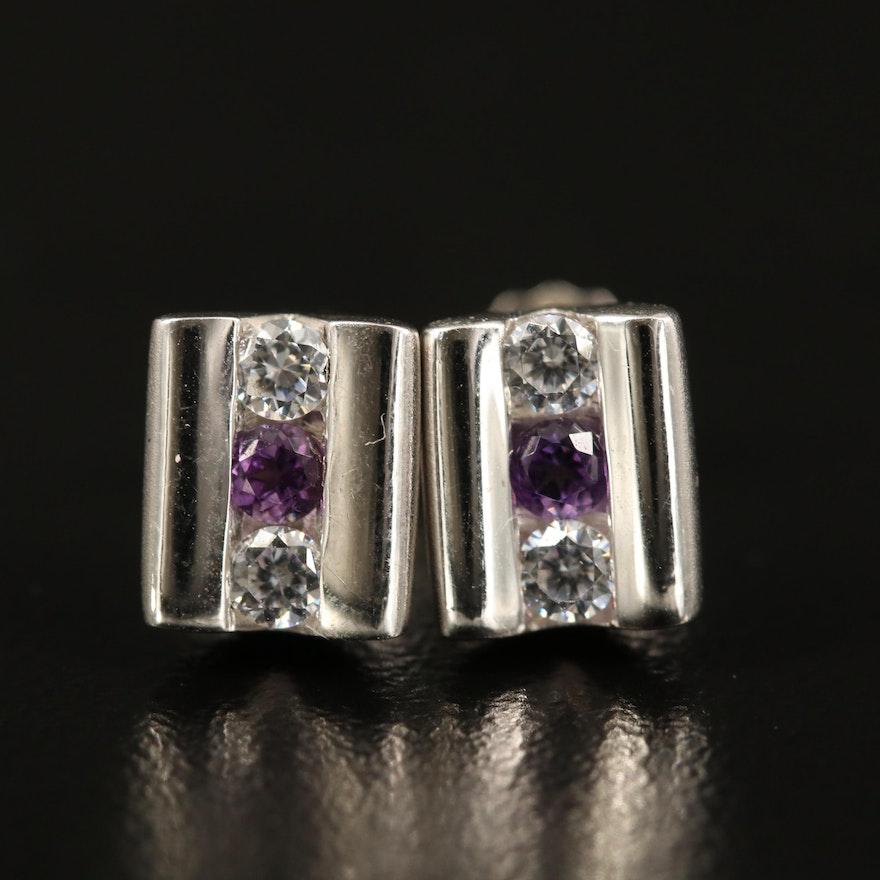 Sterling Amethyst and Cubic Zirconia Stud Earrings