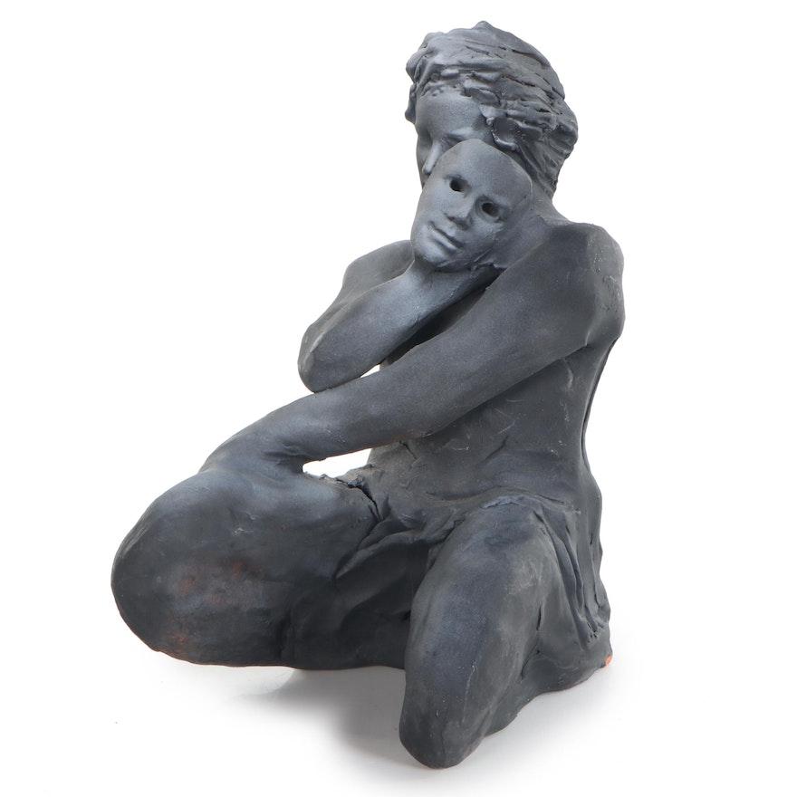Sean Corner Terracotta Sculpture of Kneeling Figure with Mask, 2006