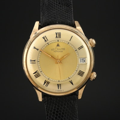 Vintage LeCoultre Memovox Alarm 10K Gold Filled Stem Wind Wristwatch