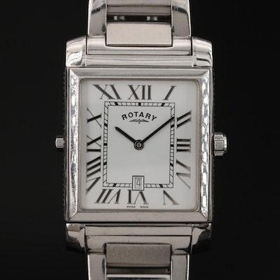 Rotary Revelation Dual Dial Stainless Steel Quartz Wristwatch
