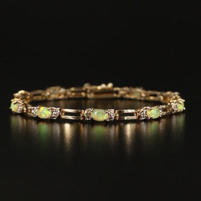 Sterling Opal Doublet and Diamond Bracelet