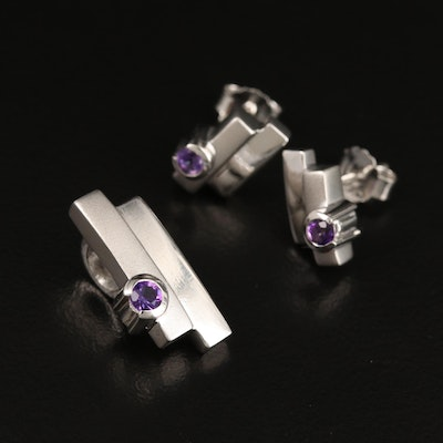 Sterling Silver Amethyst Contemporary Matching Pendant and Stud Earrings