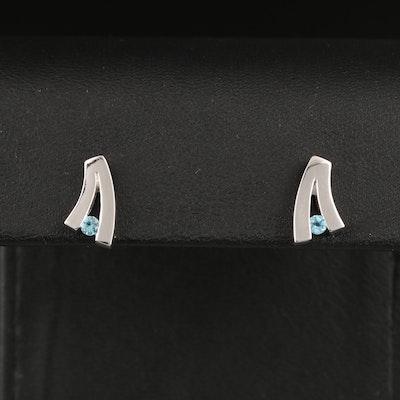 Sterling Silver Topaz Stud Earrings
