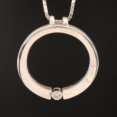Sterling Cubic Zirconia Circle Necklace