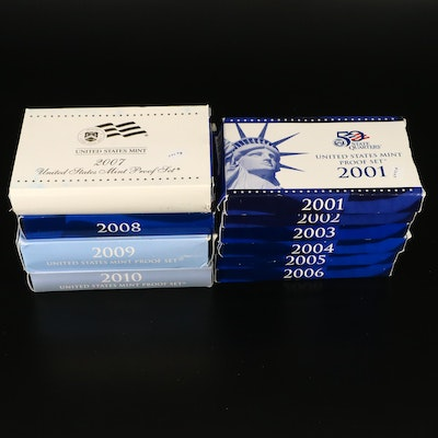 Ten Different U.S. Mint Proof Sets, 2001 to 2010