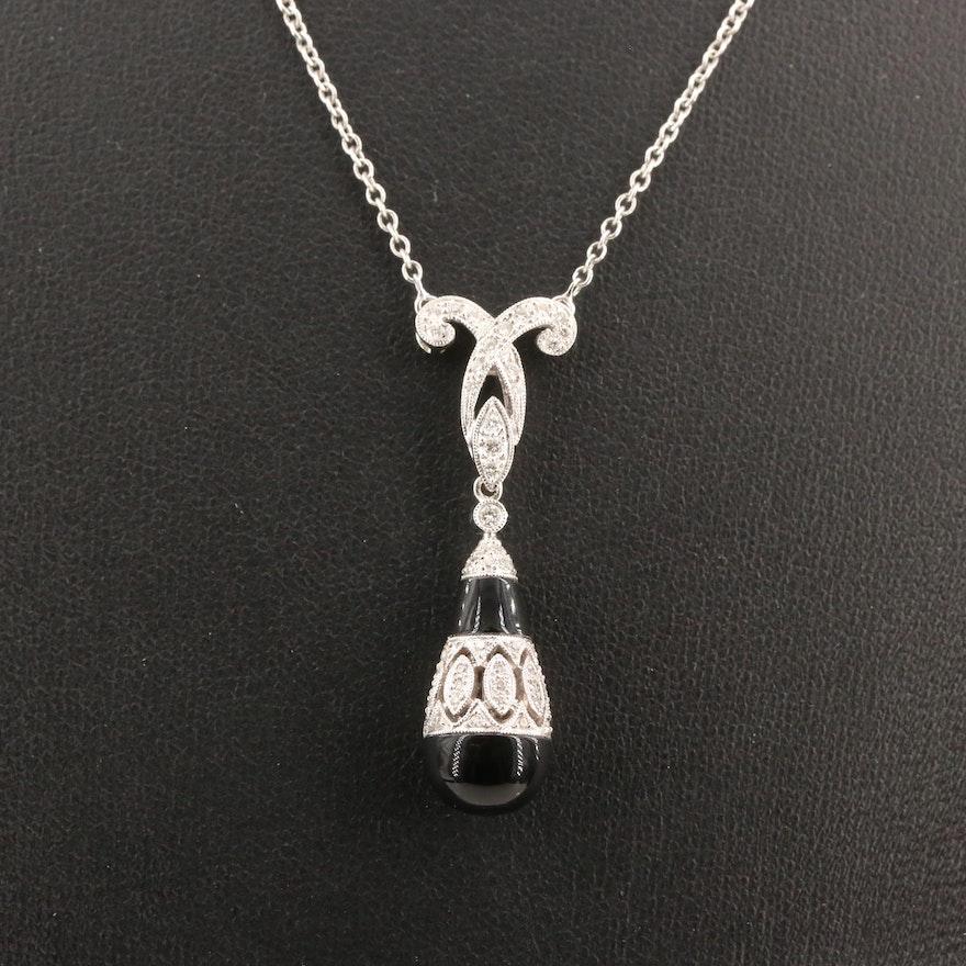 18K Black Onyx and Diamond Drop Pendant Necklace