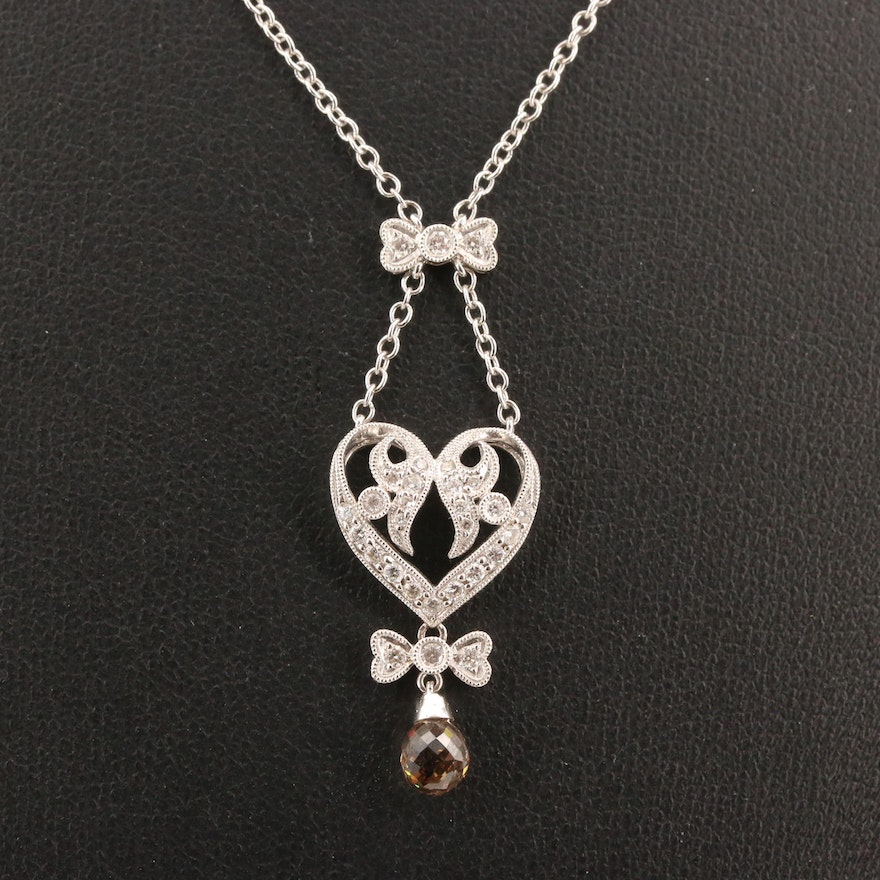 18K 1.23 CTW Diamond Heart and Bow Pendant Necklace
