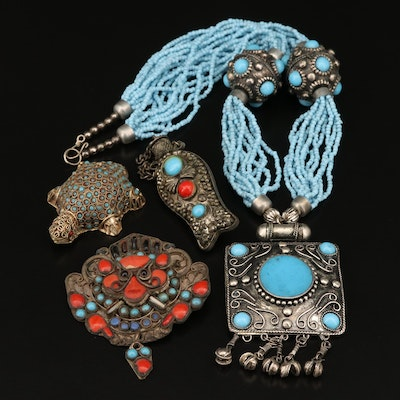 Tibetan Style Jewelry Featuring Faux Turquoise and Faux Coral