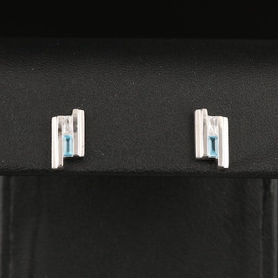 Sterling Silver Topaz and Cubic Zirconia Stud Earrings