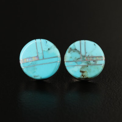 Sterling Silver Turquoise and Faux Opal Stud Earrings