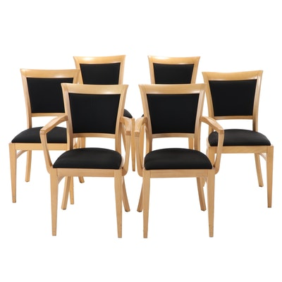Six Directoire Style Upholstered Maple Dining Chairs