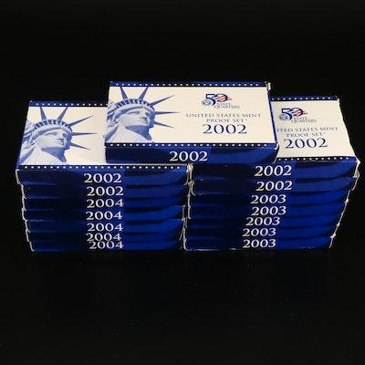 Fifteen U.S. Mint Proof Sets, 2002 to 2004