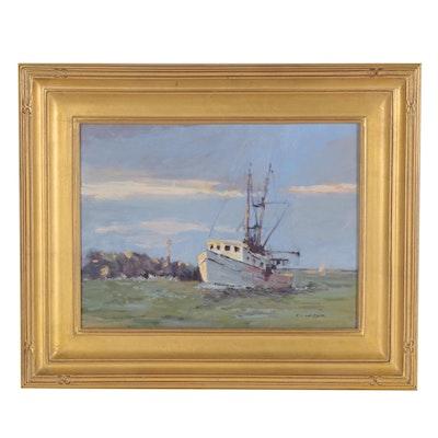 "Robert Alan Waltsak Oil Painting ""Manasquan Inlet,"" 2011"