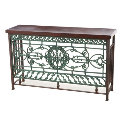 French Cast Iron Grille Console Table
