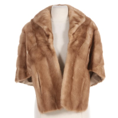 Pastel Mink Fur Stole with Pockets