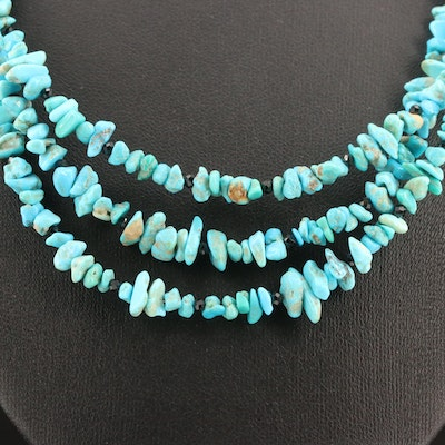 Turquoise and Black Spinel Multi-Strand Necklace