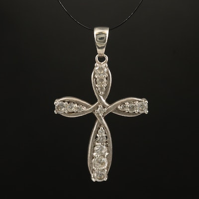Sterling Cubic Zirconia Cross Pendant
