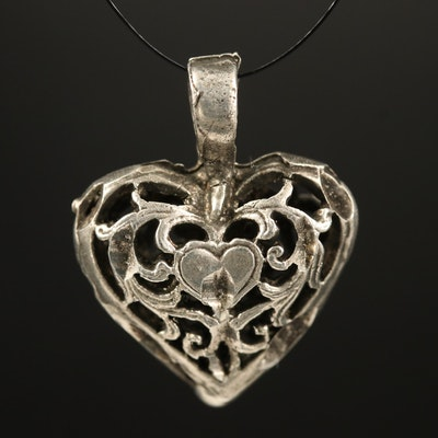 Openwork Sterling Heart Pendant