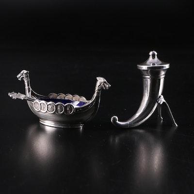 Swedish Sterling and Cobalt Glass Viking Ship Salt Cellar and Horn Pepper Pot