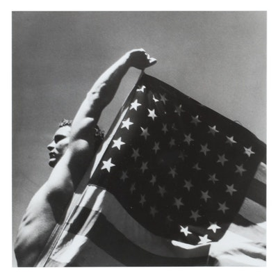 George Platt Lynes Silver Gelatin Photograph of Man with Flag, Mid-20th Century