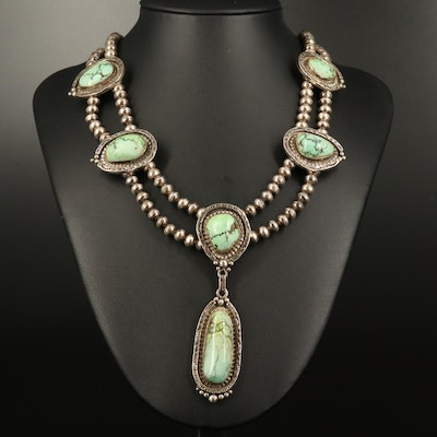 Western Sterling Turquoise and Bench Bead Necklace