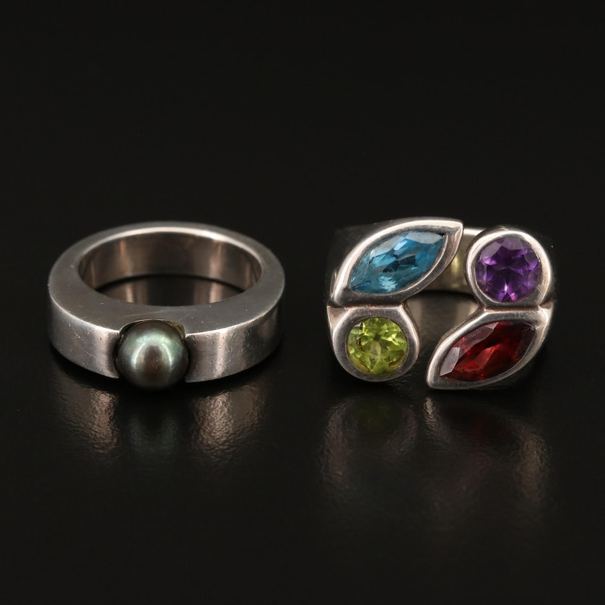 Sterling Solitaire and Torque Rings with Pearl, Amethyst and Peridot