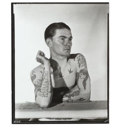 George Platt Lynes Reprinted Silver Gelatin Photograph of Tattooed Man