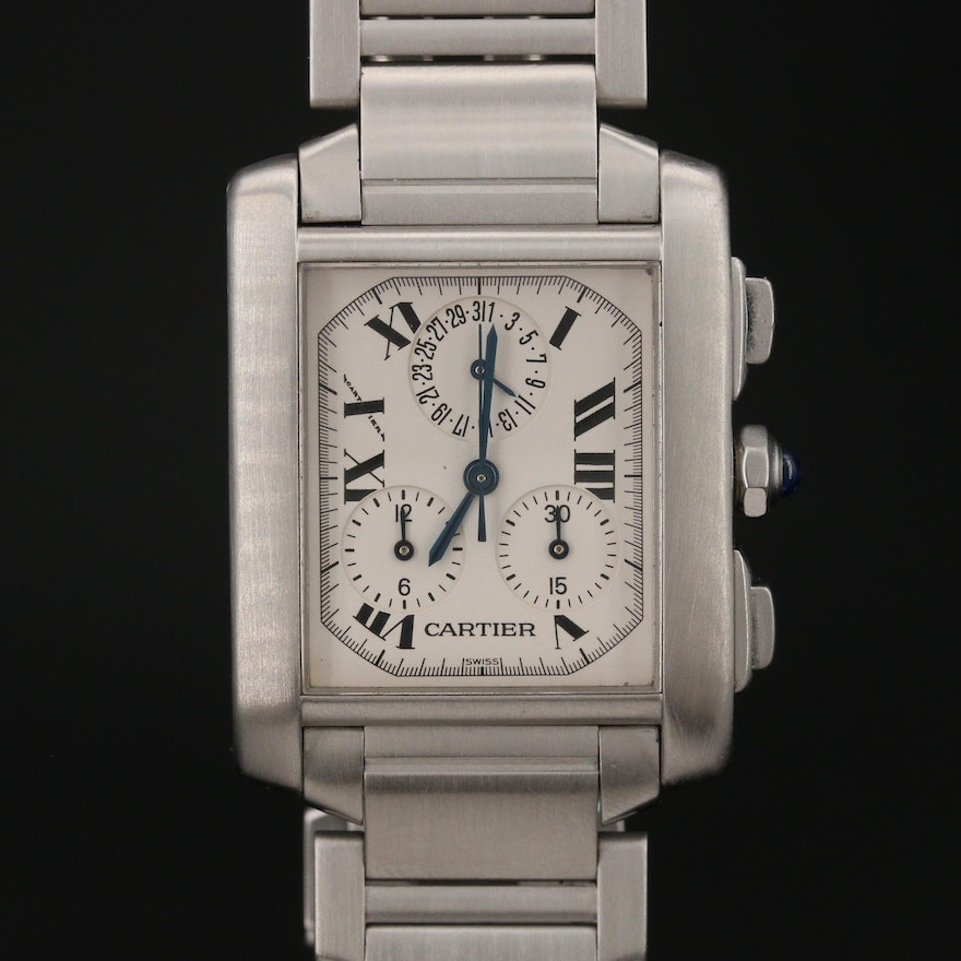 Cartier Tank Francaise Chronoflex Stainless Steel Quartz Wristwatch
