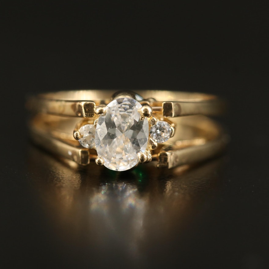 14K Cubic Zirconia and Glass Flip Ring