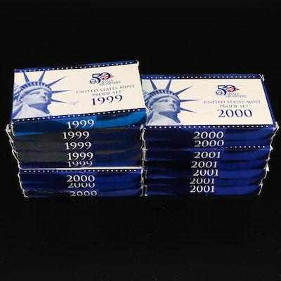 Fifteen U.S. Mint Proof Sets, 1999 to 2001