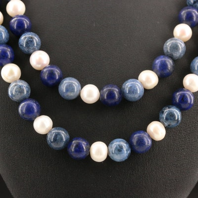 Sterling Silver Pearl, Lapis Lazuli and Sodalite Double Strand Necklace