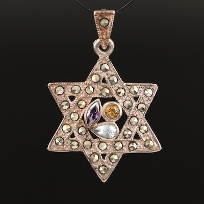 Sterling Silver Amethyst, Citrine and Marcasite Star of David Pendant