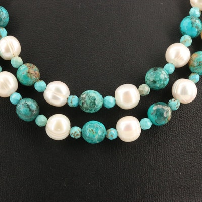Turquoise and Pearl Double Strand Necklace with Sterling Clasp