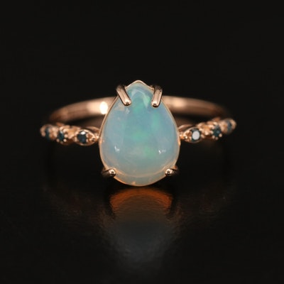 14K Opal Teardrop Ring with Diamond Accents