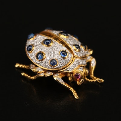 18K Diamond, Sapphire and Ruby Articulated Beetle Brooch