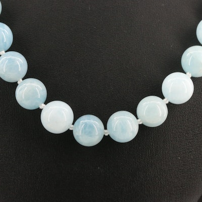 Sterling Silver Aquamarine Knotted Necklace