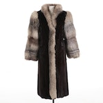 Mahogany Mink and Platinum Fox Fur Full-Length Coat by Gilles Perron