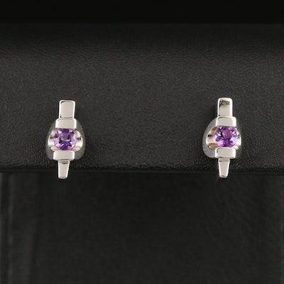 Contemporary Sterling Silver Amethyst Stud Earrings