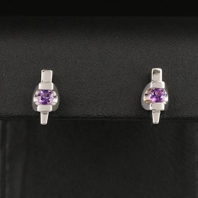 Contemporary Sterling Silver Amethyst Stud Earrings
