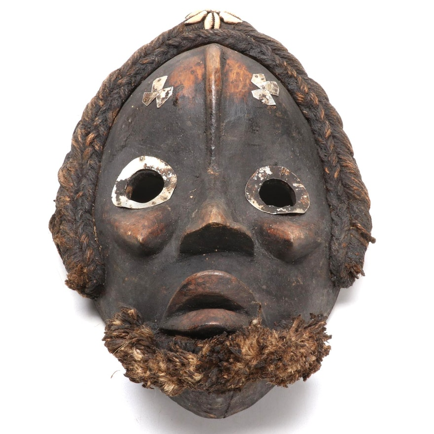 Dan Style Wooden Mask with Embellishments, West Africa