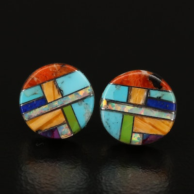 Signed Western Sterling Opal, Turquoise and Coral Inlay Stud Earrings