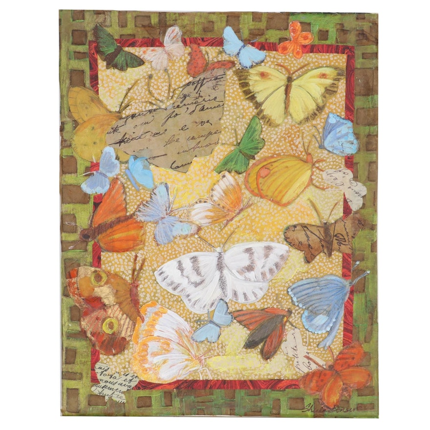 Sheila Bonser Mixed Media Paper Butterfly Collage, 21st Century