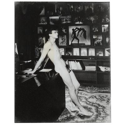 George Platt Silver Gelatin Photo Lynes of Male Nude Leaning on Desk