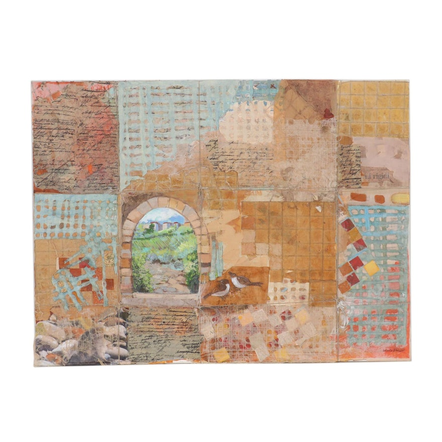 Sheila Bonser Abstract Mixed Media Paper Collage, 21st Century