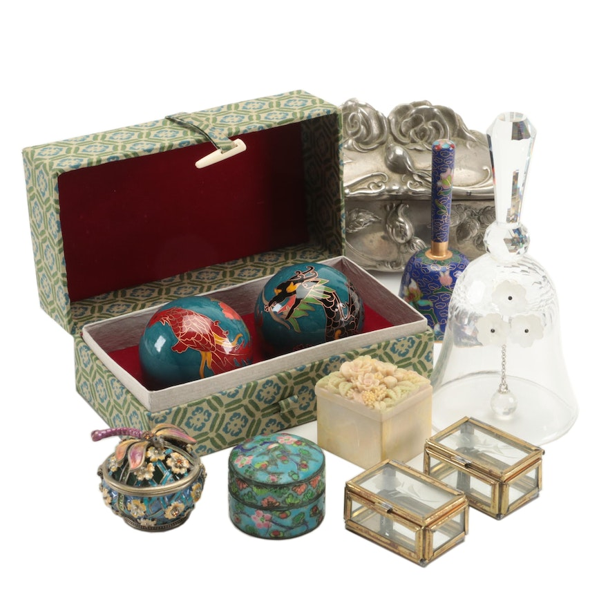 Chinese Baoding Balls, Bells and Trinket Boxes Including Cloisonné