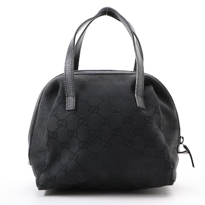 Gucci Mini Satchel Bag in Black GG Canvas and Leather