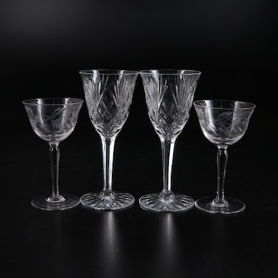 Floral  Etched Glass Cordials and Wine Glasses, Mid-20th Century