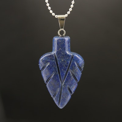 Carved Lapis Lazuli Leaf Necklace